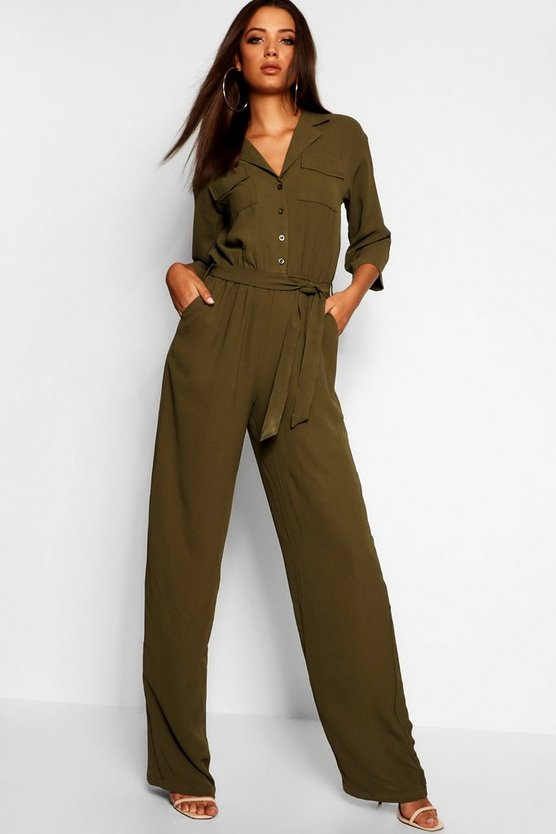Tall gewebter Overall in Camo-Print