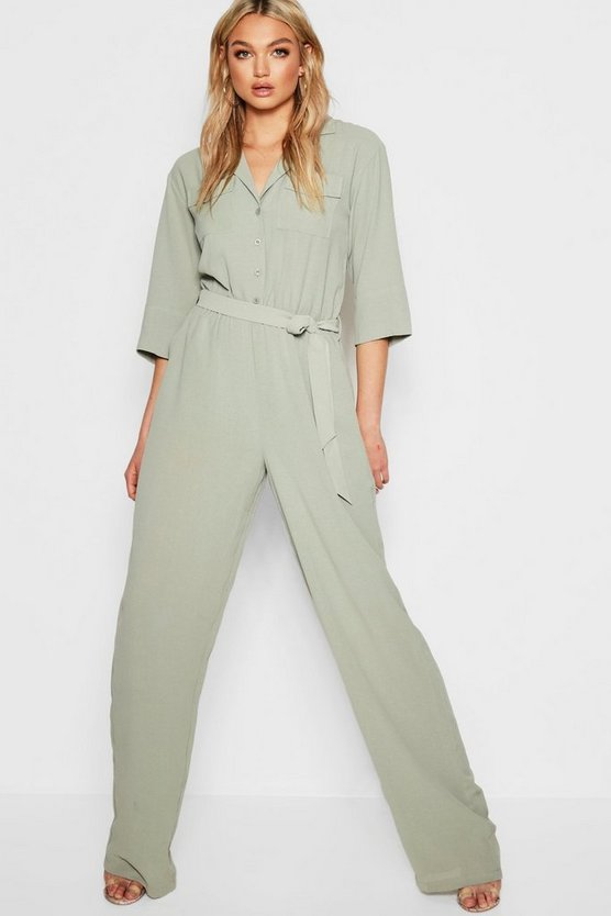 Womens Sage Tall Woven Cargo Boiler Suit