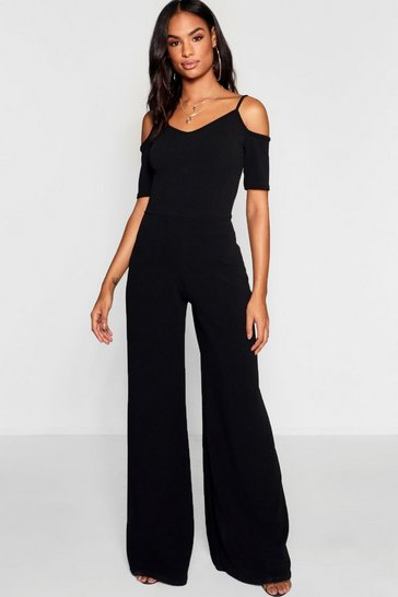 Black Tall Cold Shoulder Culotte Jumpsuit