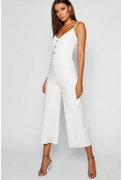 Womens Ivory Tall Button Front Strappy Culotte Jumpsuit