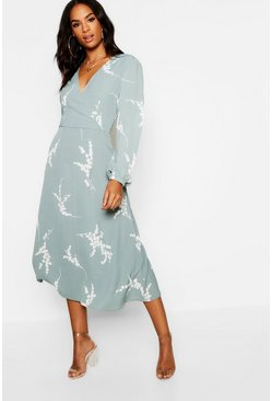 Tall Floral Print Wrap Midi Dress, Sage, Donna