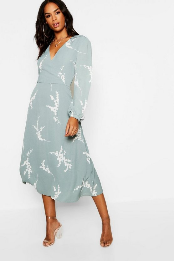 Womens Sage Tall Floral Print Wrap Midi Dress