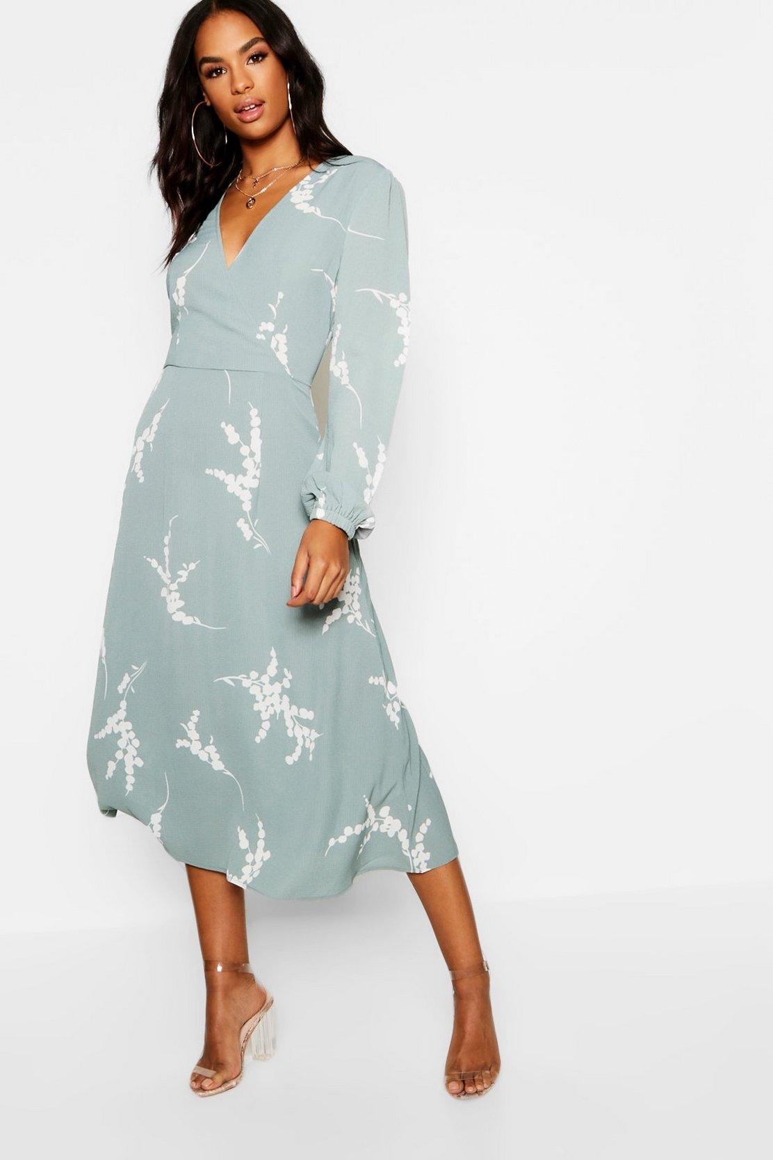 Tall Floral Print Wrap Midi Dress by Boohoo