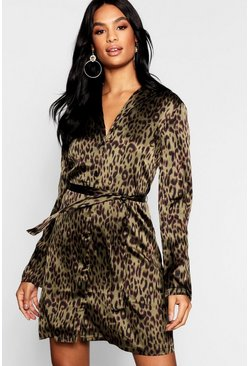 Womens Khaki Tall Satin Leopard Print Belted Shift Dress