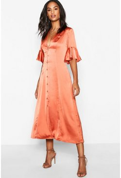 Womens Rust Tall Flute Sleeve Satin Midi Dress