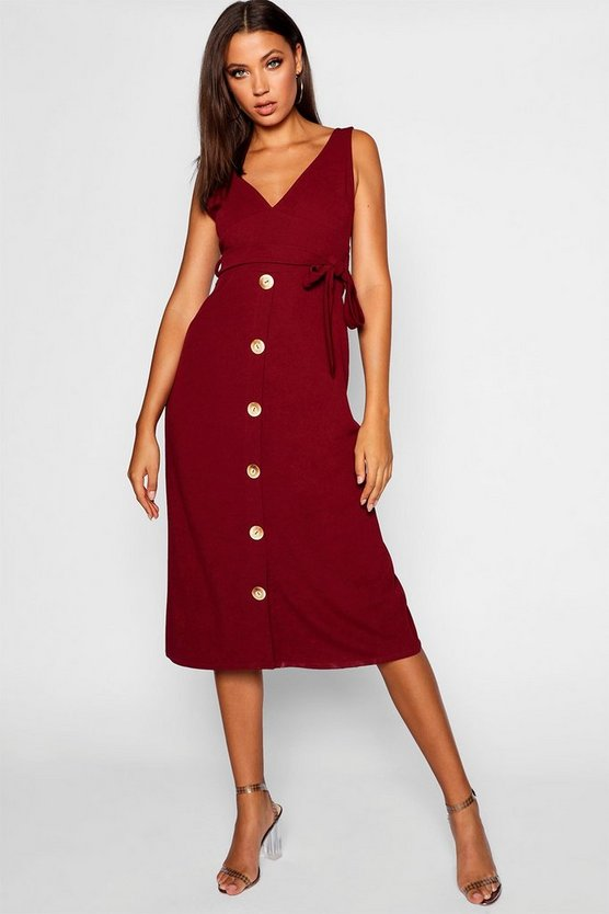 Tall Tortoise Shell Button Midi Dress