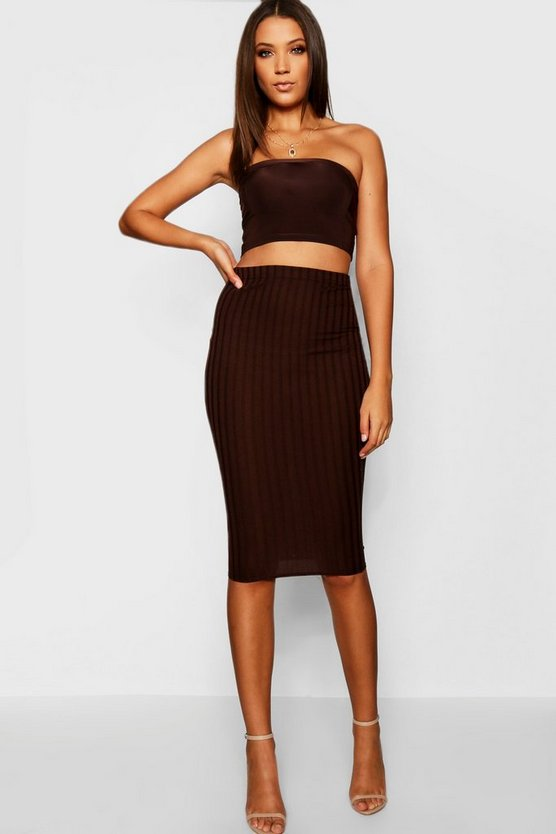 Tall Wide Rib Midi Skirt