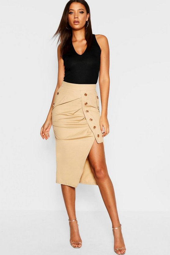 Womens Camel Tall Mock Horn Button Midi Skirt
