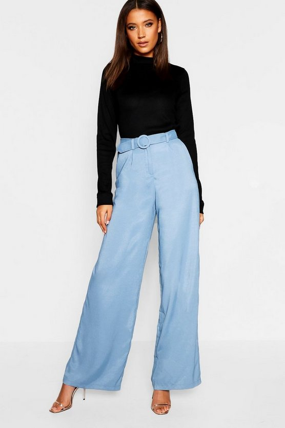 Womens Blue Tall Belted Wide Leg Pants