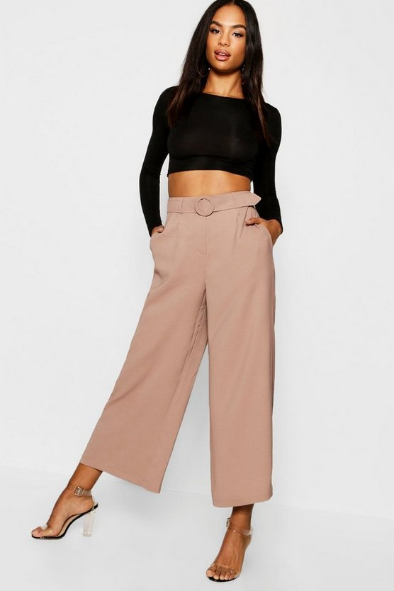 Womens Stone Tall O Ring Belted Culotte