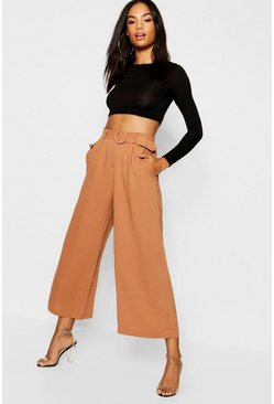 Womens Tan Tall O Ring Belted Culotte