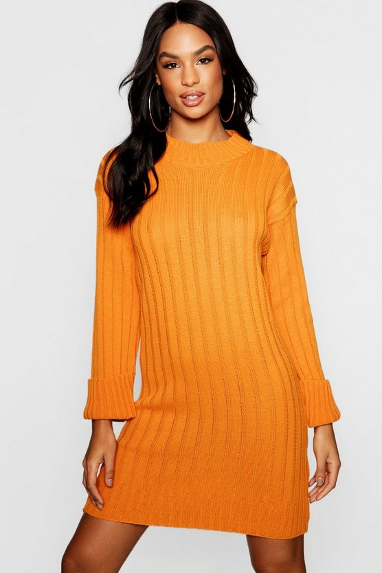 Tall Wide Rib Turn Up Cuff Dress