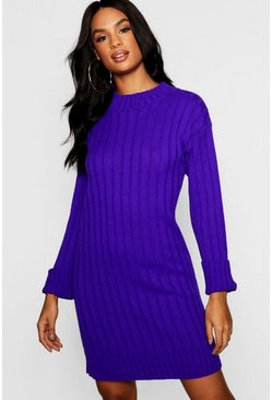 Womens Purple Tall Wide Rib Turn Up Cuff Dress