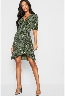 Khaki Tall Leopard Print Mock Horn Button Wrap Dress
