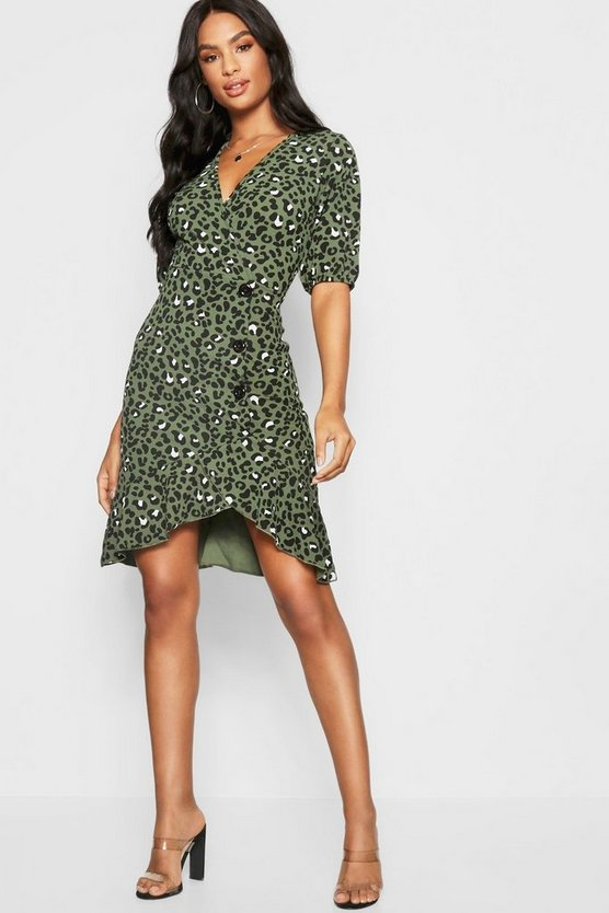 Tall Leopard Print Mock Horn Button Wrap Dress