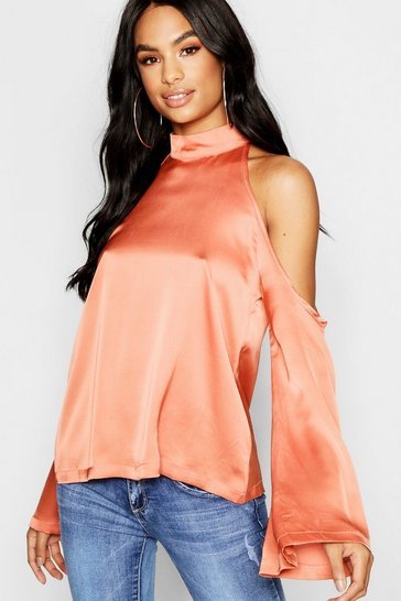 Womens Rose Tall Hammered Satin Cold Shoulder Blouse