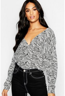 Womens Black Tall Zebra Print Collarless Shirt