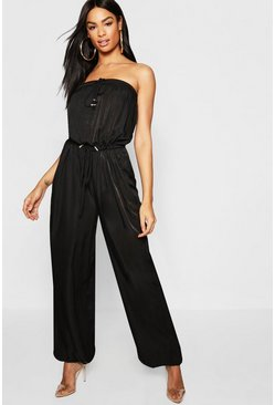 Womens Black Tall Bandage Toggle Utility Jumpsuit