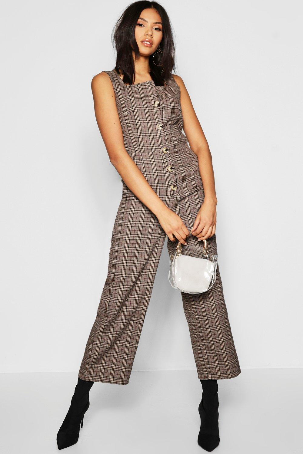 Tall Square Neck Mock Horn Button Jumpsuit