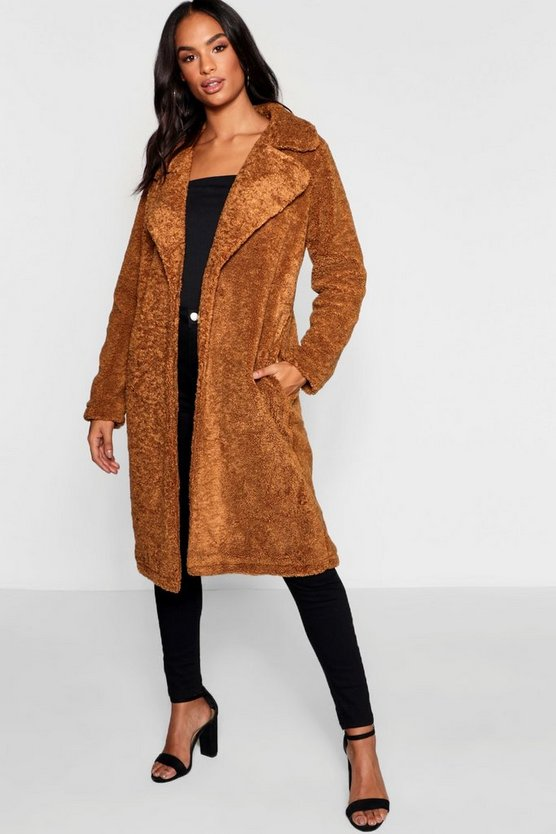 Womens Camel Tall Longline Teddy Faux Fur Coat