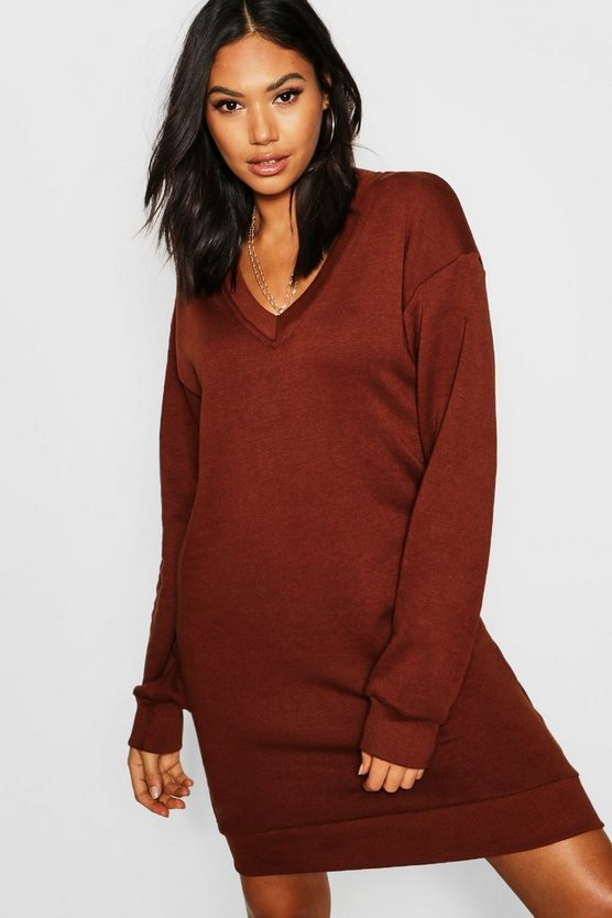 Womens Tall V Neck Sweat Dress
