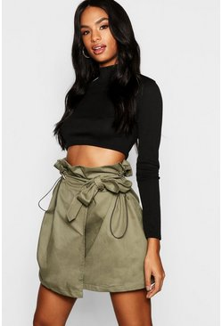 Womens Khaki Tall Toggle Utility Pocket Skirt