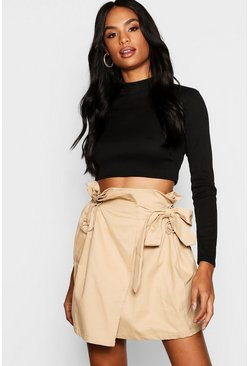 Womens Stone Tall Toggle Utility Pocket Skirt