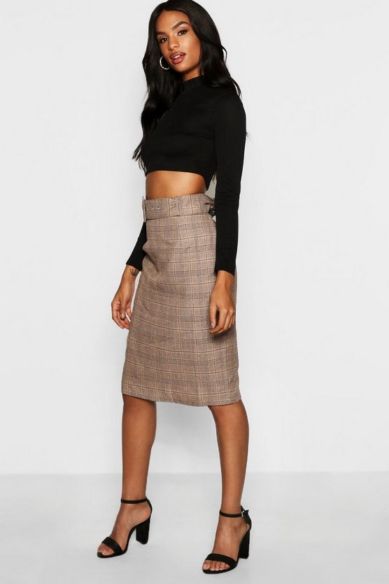 Womens Brown Tall Check Belted Midi Skirt