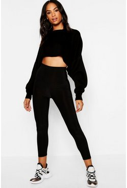 Womens Black Tall Slinky Cropped Legging