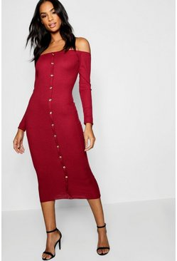 Womens Wine Tall Gold Button Rib Knit Dress