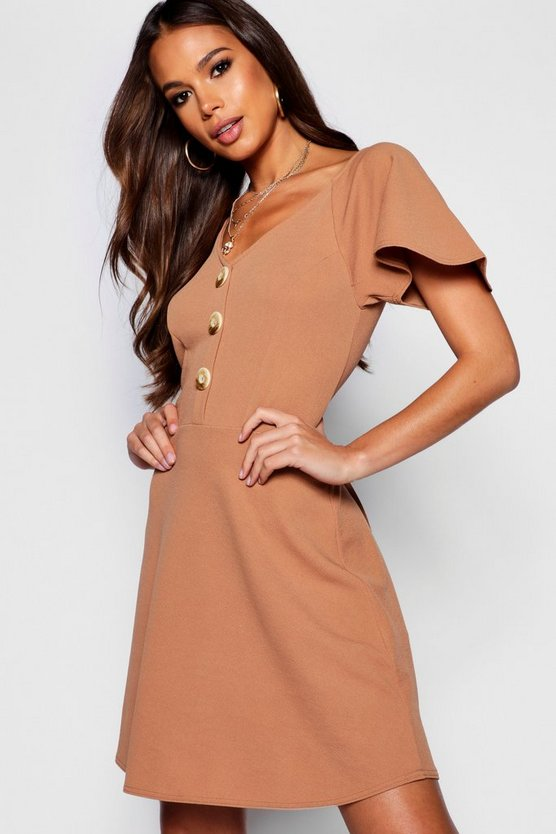 Tall Tortoise Shell Button Skater Dress