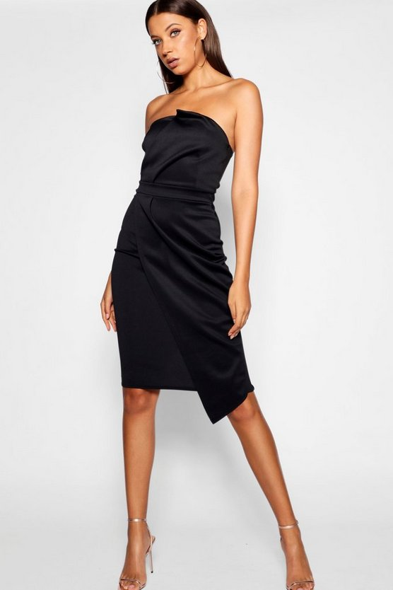 Womens Black Tall Bandeau Wrap Detail Midi Dress