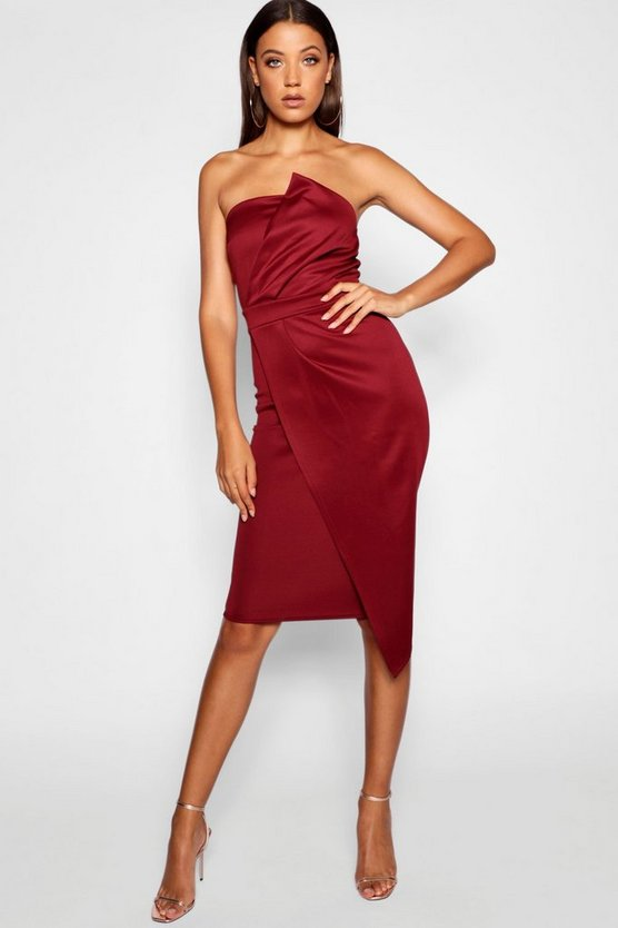 Womens Wine Tall Bandeau Wrap Detail Midi Dress
