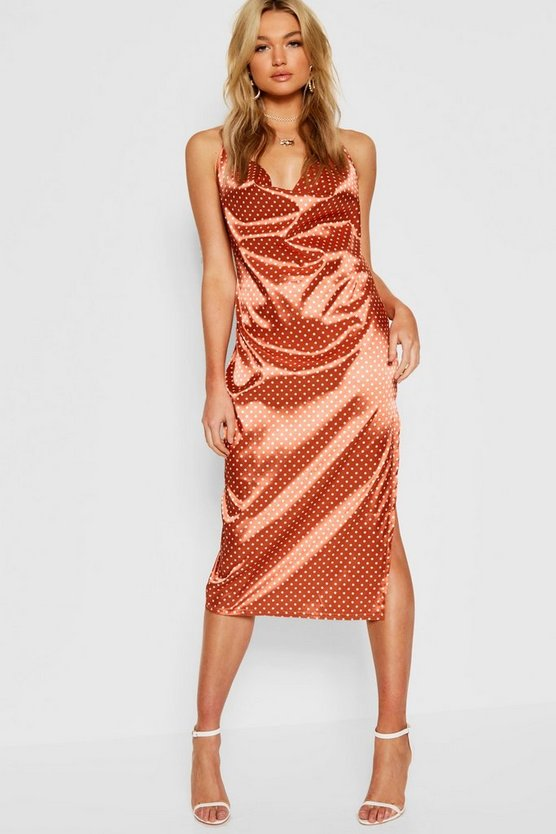 Tall Polka Dot Satin Cowl Neck Midi Dress