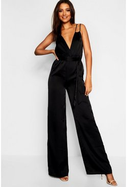 Womens Black Tall Strap Detail Satin Jumpsuit