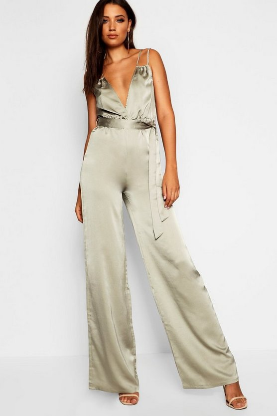 Tall Strap Detail Satin Jumpsuit
