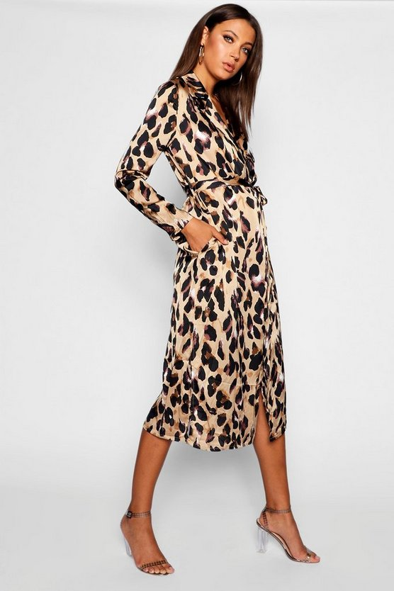 Womens Tan Tall Leopard Print Satin Trench Coat