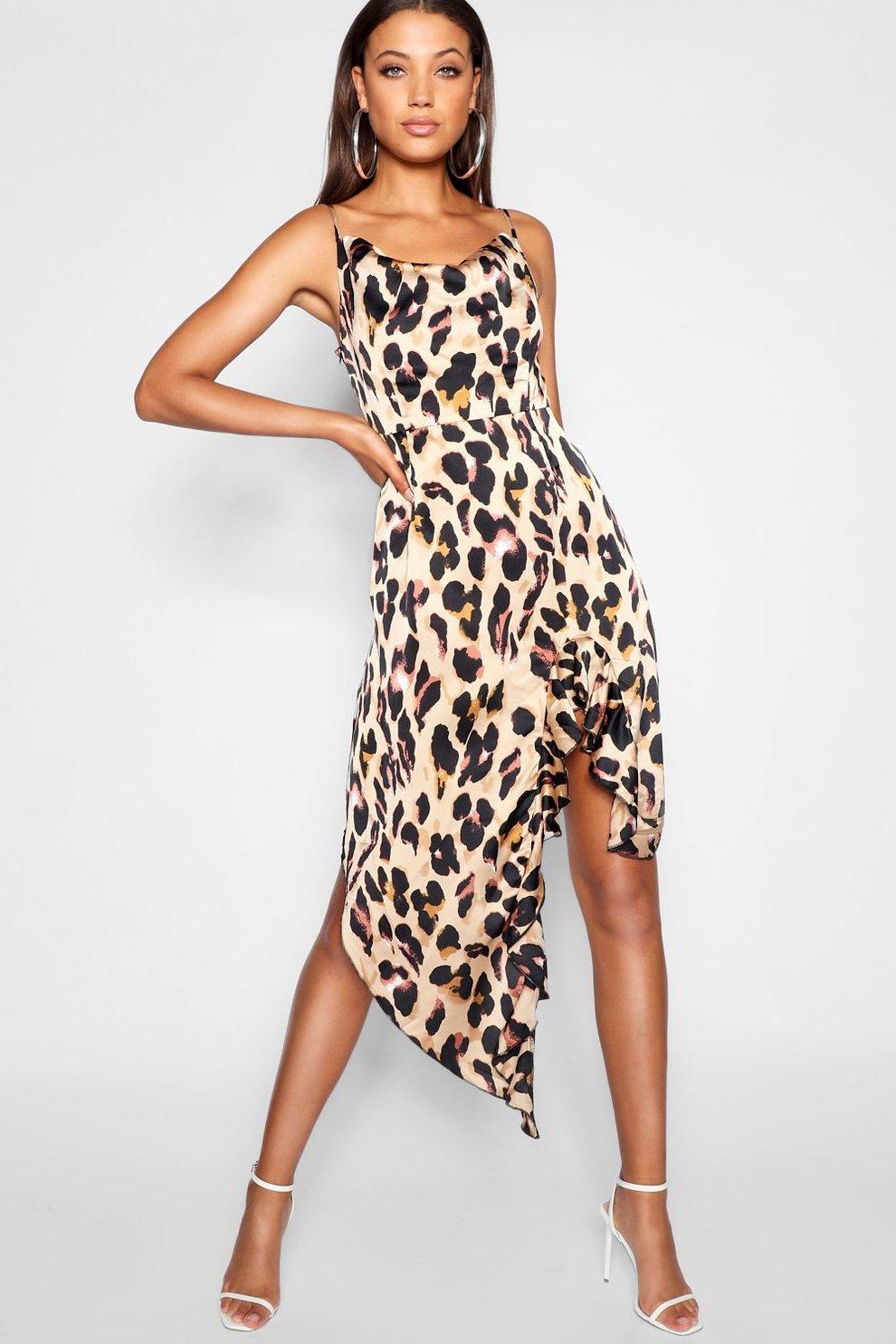 3b963bea8236 Tall Ruffle Strap Leopard Print Wrap Dress   Boohoo