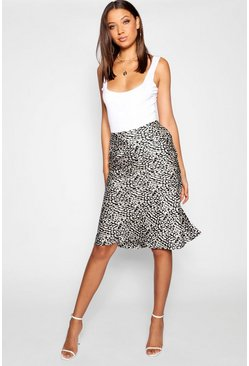 Black Tall Leopard Print Satin Midi Skirt