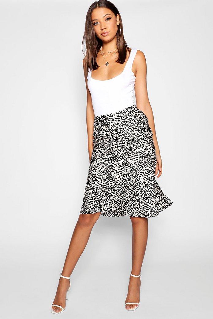 Tall Leopard Print Satin Midi Skirt | Boohoo