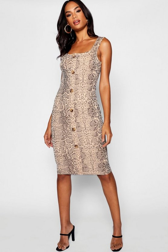 Tall Button Front Snake Print Midi Bodycon Dress