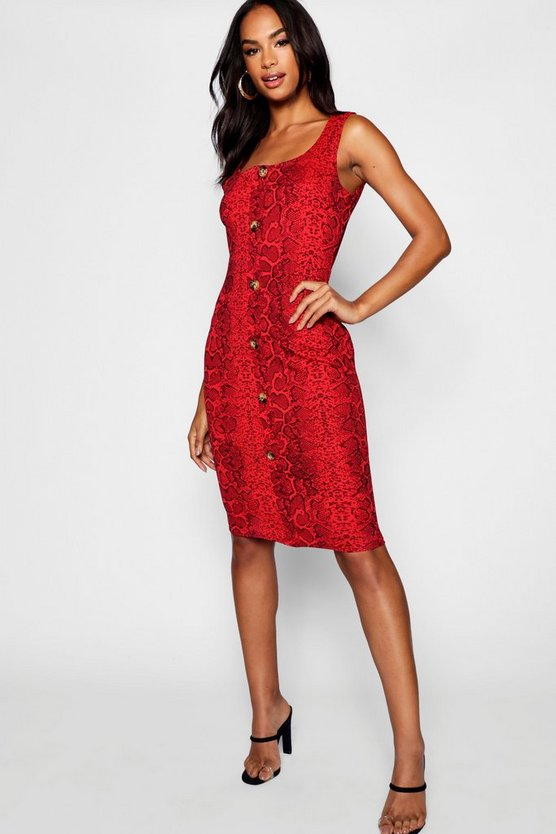 Red Tall Button Front Snake Print Midi Bodycon Dress