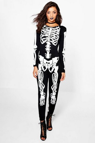 Womens Black Tall Halloween Skeleton Jumpsuit