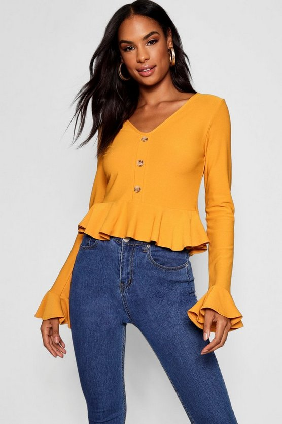 Womens Mustard Tall Peplum Hem Horn Button Top