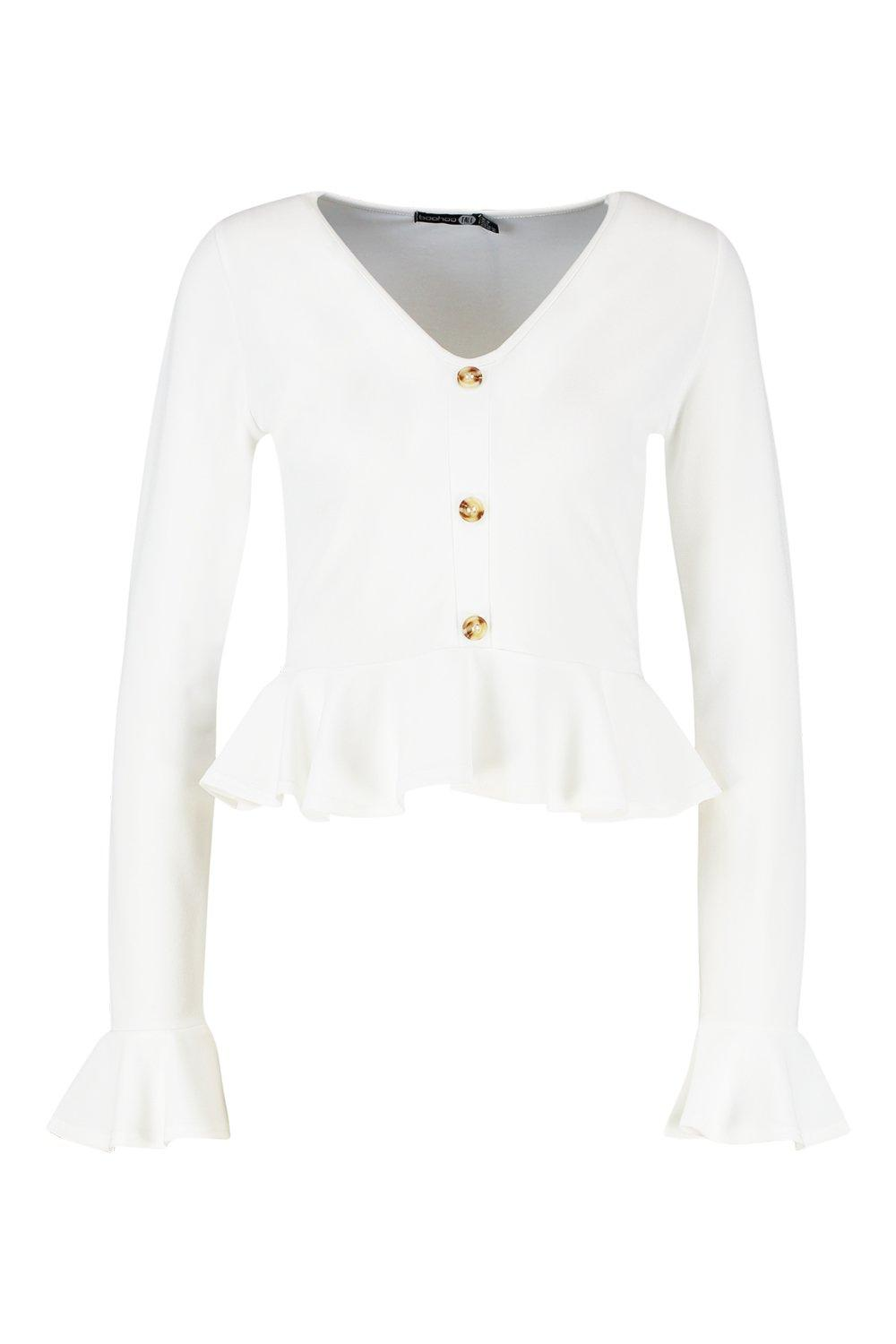 white Button Tall Horn Peplum Top Hem wHwqXa7B