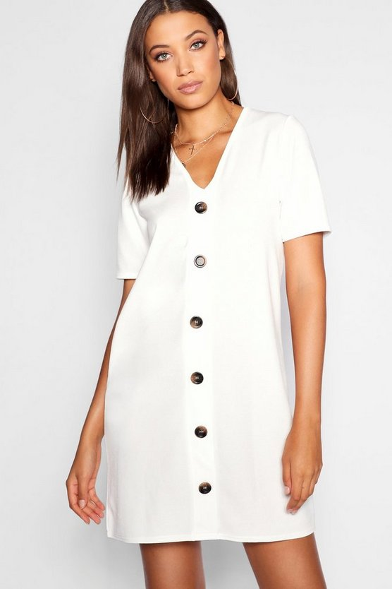Tall Button Front T-shirt Dress