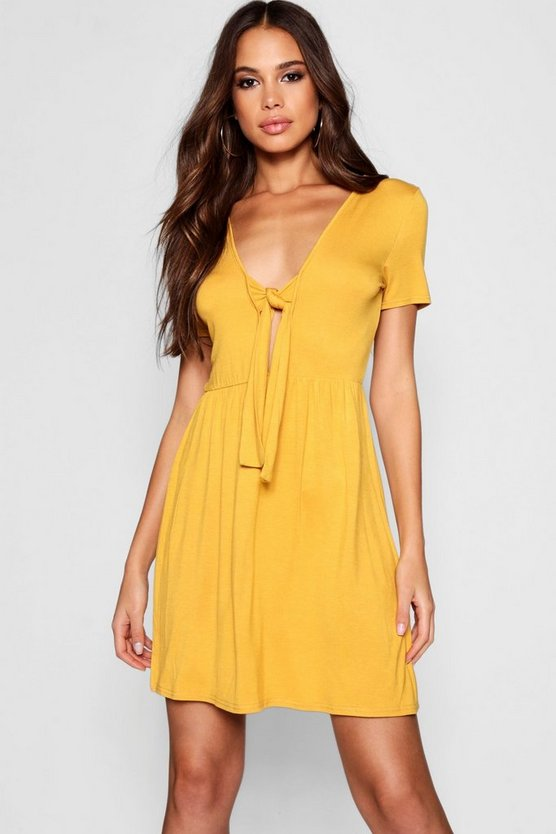 Womens Mustard Tall Tie Front Skater Dress