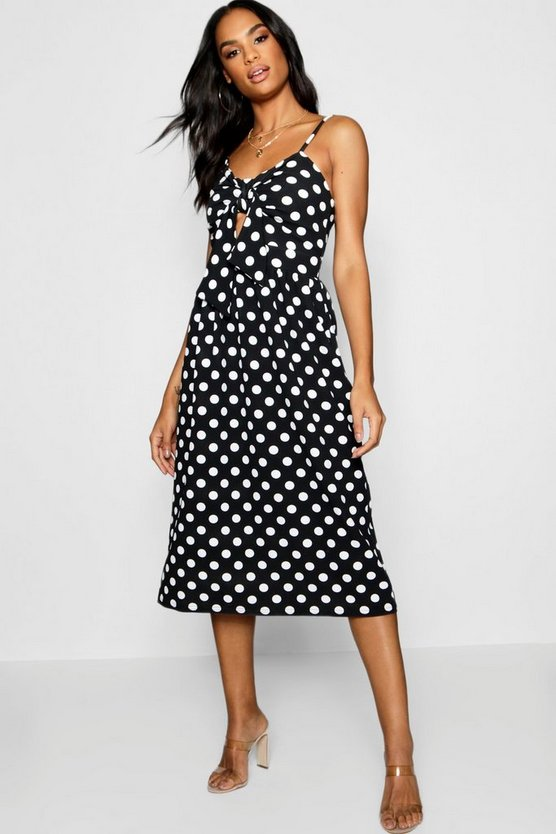 Womens Tall Knot Front Polka Dot Midi Dress