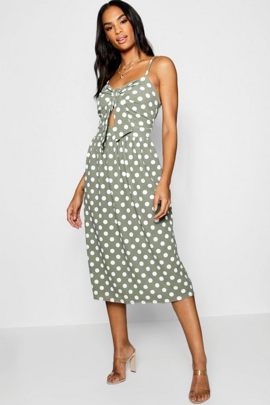 Tall Knot Front Polka Dot Midi Dress