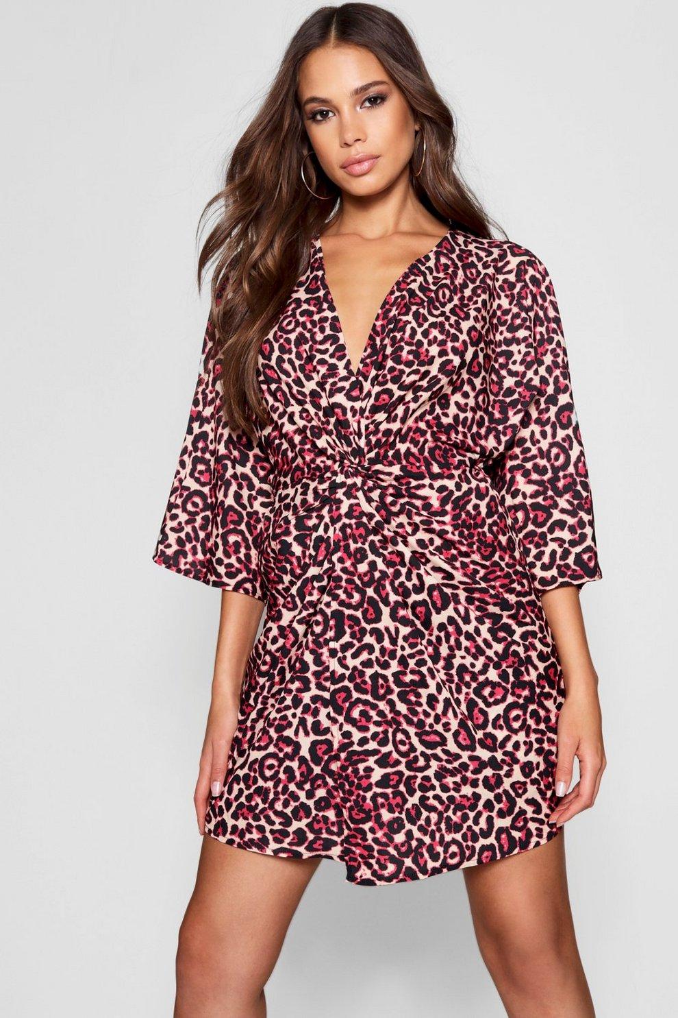 aa7aa3578898 Tall Leopard Print Kimono Dress | Boohoo